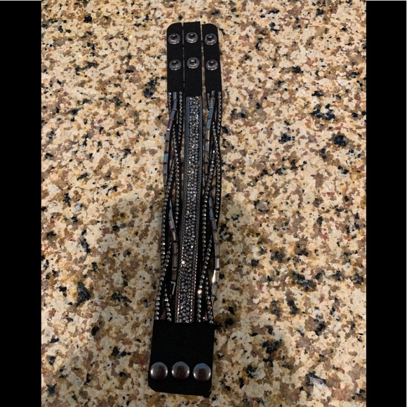 Stylish black and silver bracelet
